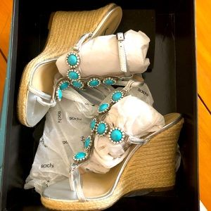 "Sachi ""Solisse"" Jeweled Sandal Espadrille Wedge"